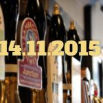 Pump handles in a London pub with the date: 14/11/2015.