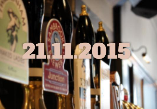 A row of beer pumps overlaid with today's date.