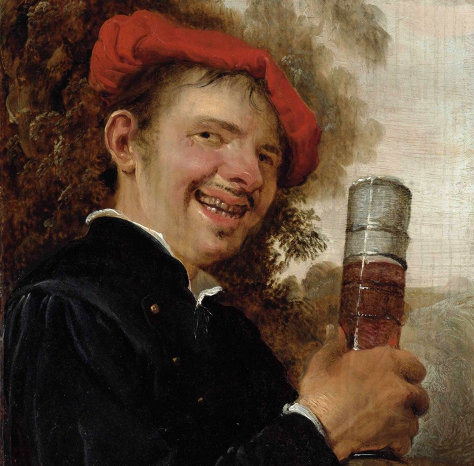 AN ALLEGORY OF TASTE: A MAN, BUST-LENGTH, IN A BLACK JACKET AND RED BERET, HOLDING A PASGLAS, by PETRUS STAVERENUS