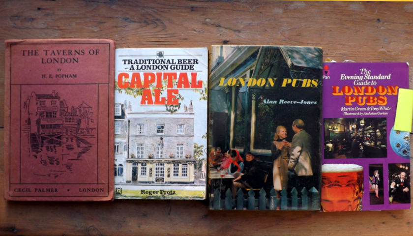 A selection of London pub guides, 1920s-1980s.