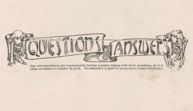 Questions & Answers -- 1906 magazine header graphic.
