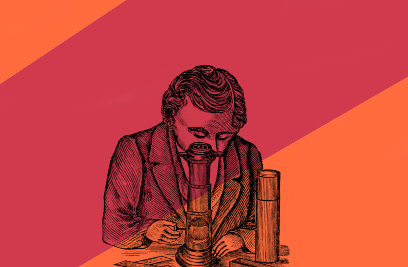 Vintage illustration (1869) of a man peering into a microscope.