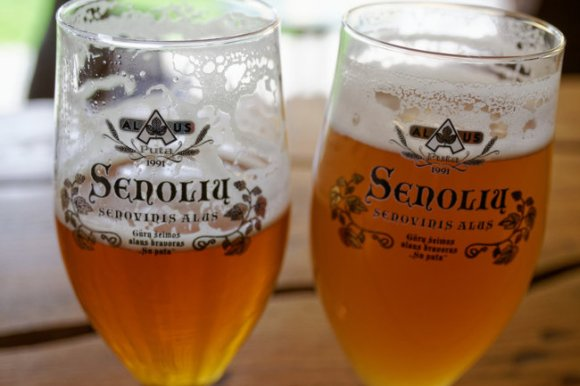Two glasses of traditional Lithuanian beer.