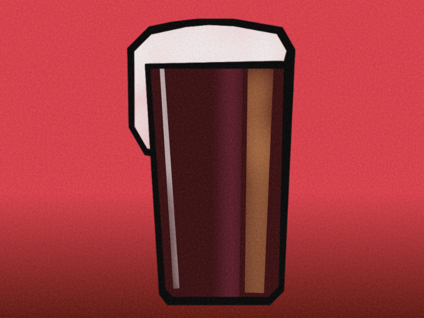 A vaguely Art Deco illustration of a pint of dark beer.