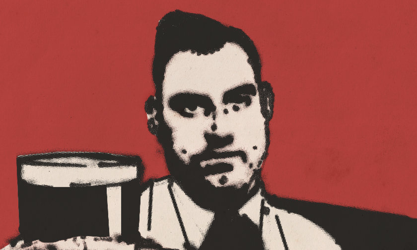 Illustration: Ian Nairn with pint of Guinness.