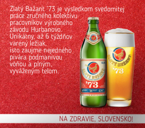 Zlaty Bazant 73 bottle.