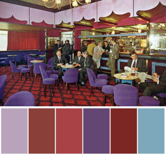 Interior of 1960s pub with colour palette at bottom.