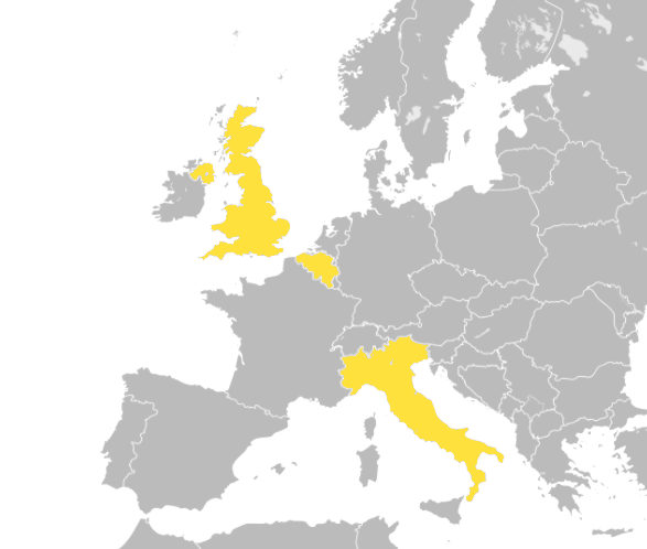 Map of Europe with Italy, Belgium and the UK highlighted.