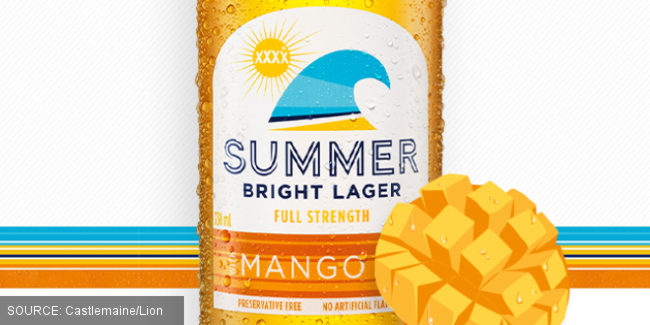 Summer Bright Lager with Mango (marketing image).