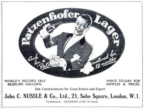Patzenhofer Lager advert, 1937.