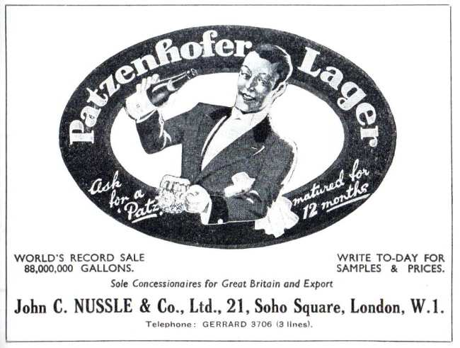 Patzenhofer Lager advert, 1937.