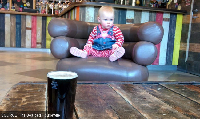 A baby in the pub.