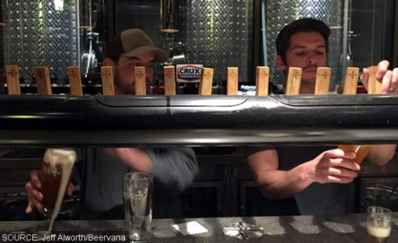 Barmen pouring IPAs.