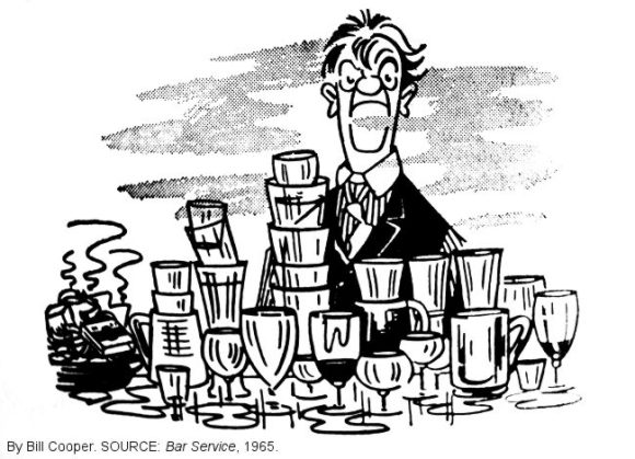 CARTOON: Disgruntled publican surrounded by empty glasses.
