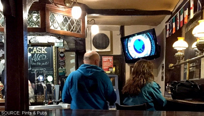 People watching TV in a pub.