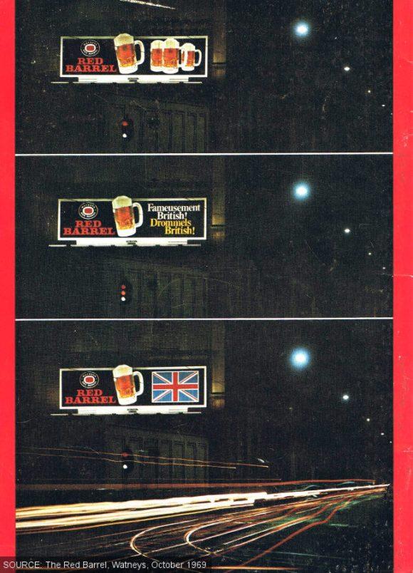 Vintage Watney's beer advertisements in Brussels, lit up at night.