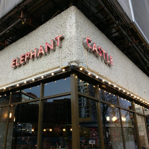 The Elephant & Castle neon sign in 2017.