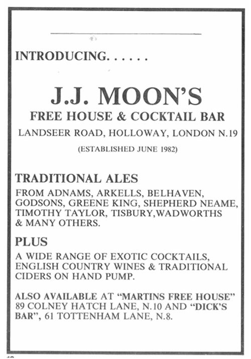Advert from the London Drinker, 1982.