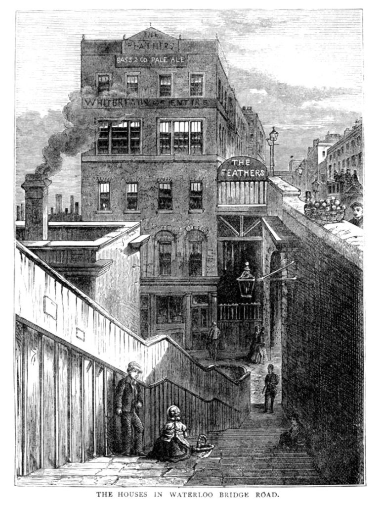 The Feathers public house, Waterloo, London, in an 1870s engraving.