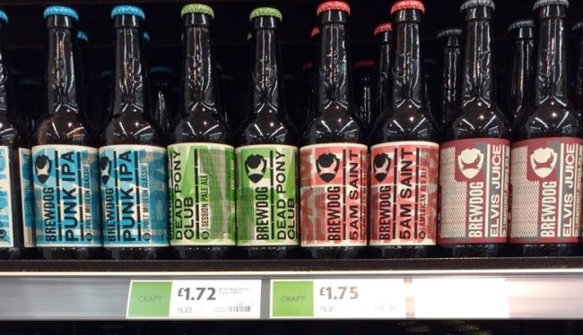 BrewDog bottles in a supermarket.