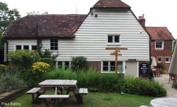 A Kent country pub with weatherboarding.