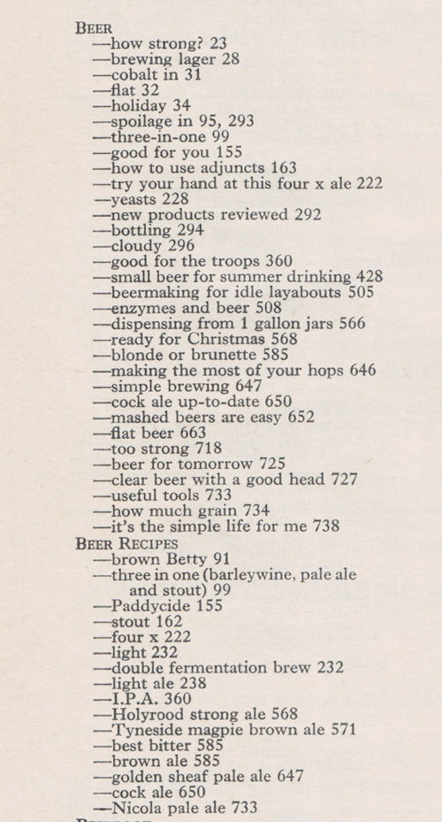 Index for December 1971, beer section.
