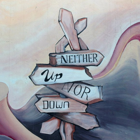"""Painted Signpost: """"Neither Up Nor Down"""""""