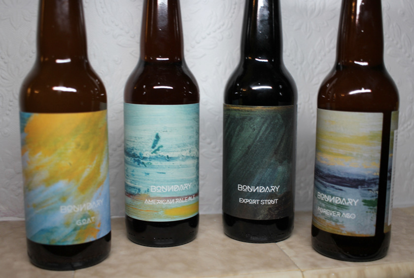 Boundary beers in their bottles.