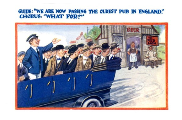 Postcard of a charabanc full of red-nosed drinkers dismayed to be passing a pub.
