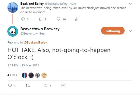 Twitter conversation: a takeover is not going to happen, says Beavertown.
