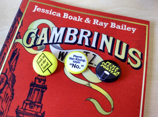 Gambrinus Waltz and badges.