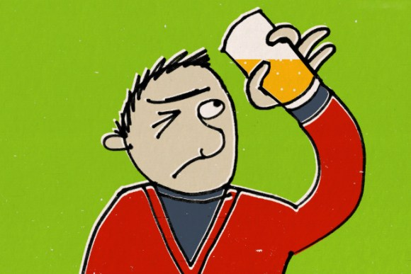 Cartoon: a man peers at a beer with a beady eye.
