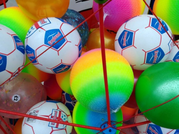 Plastic footballs.