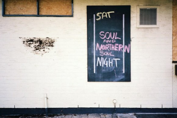 Sign on the side of the pub advertising Northern Soul.
