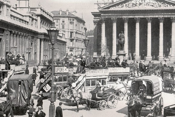 Omnibuses outside the Royal Exchange.