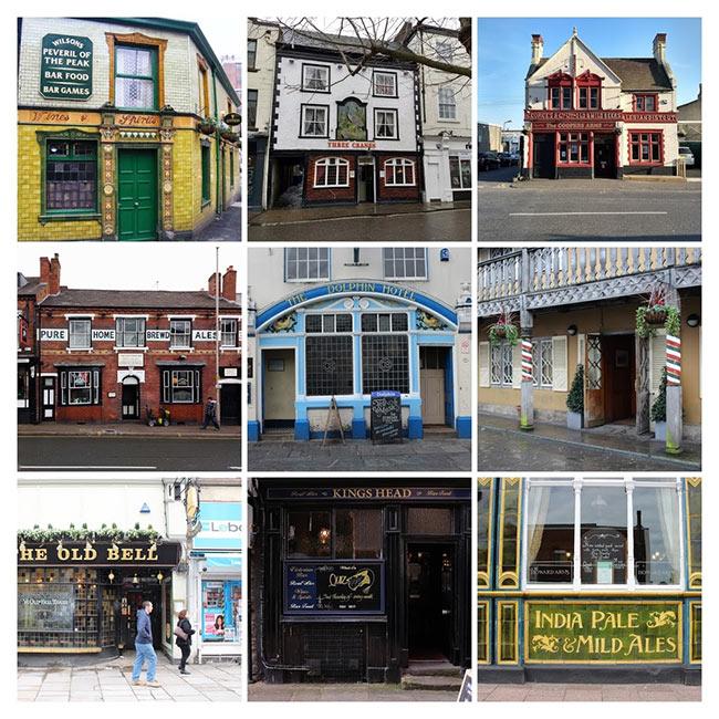 Collage: nine pubs.