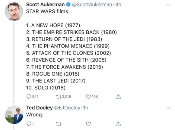 "Scott Aukerman's chronological list of Star Wars films to which someone replies ""WRONG"" assuming it is a ranking."