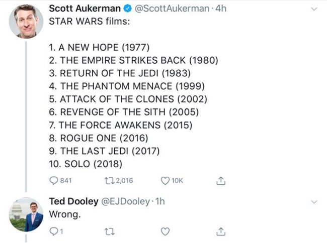 """Scott Aukerman's chronological list of Star Wars films to which someone replies """"WRONG"""" assuming it is a ranking."""