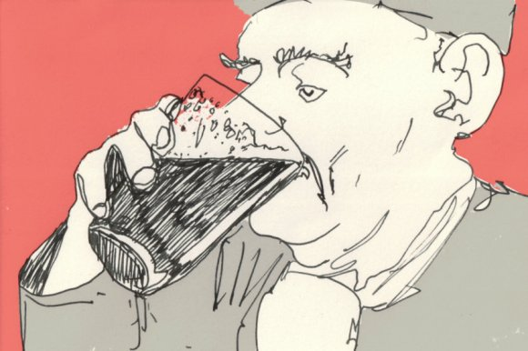 """Illustration: """"Old Boy With Pint""""."""