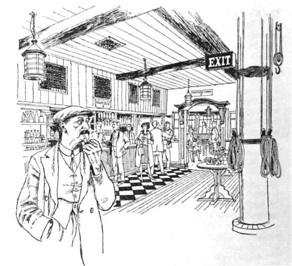 A drawing of a pub interior.