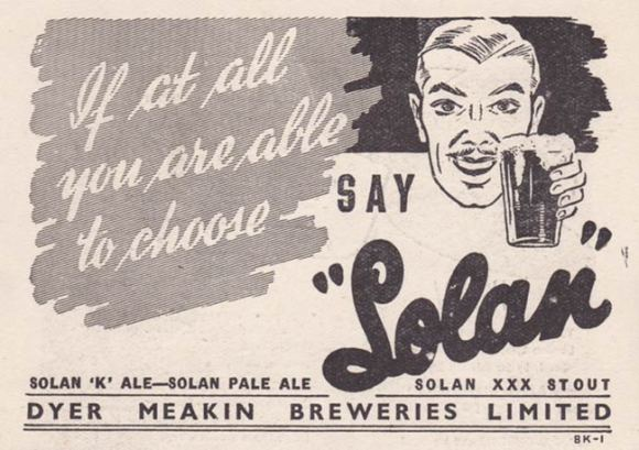 Advert for Solan pale ale and XXX stout.