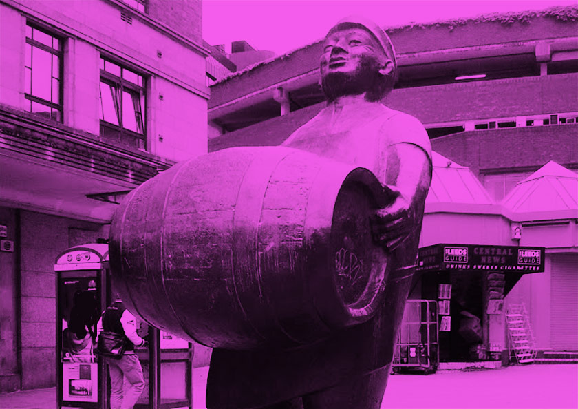 A statue in Leeds of a brewer carrying a barrel.