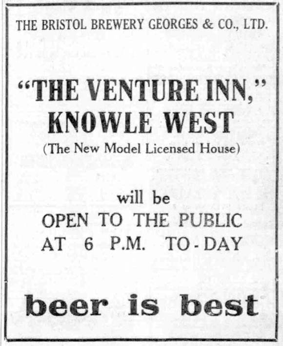 Advert for the Venture Inn, Knowle West