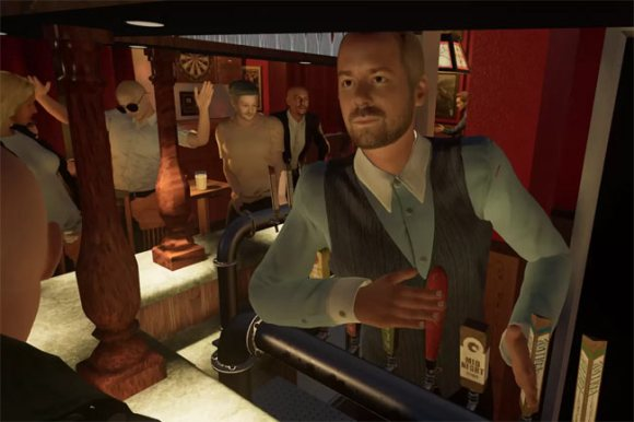 VR pub: barman and bar.