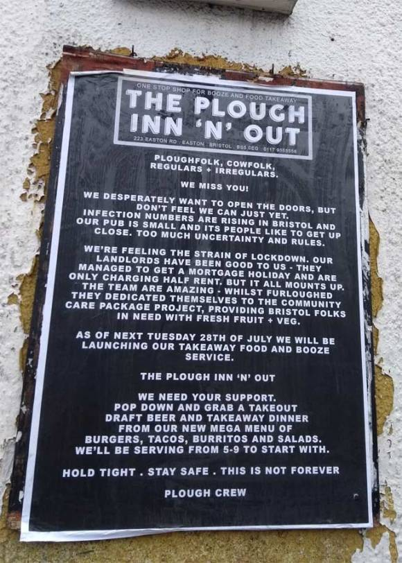 Sign outside a pub.