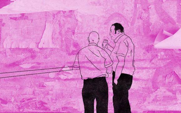 Illustration: men in a pub.