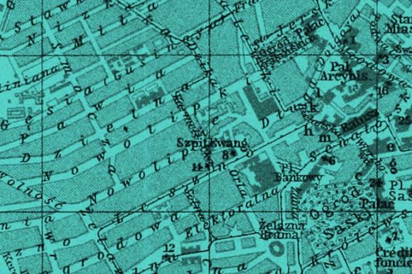 Old map of Warsaw