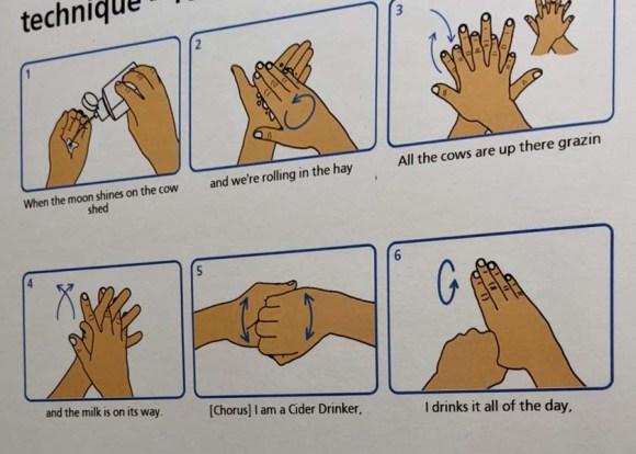 Handwashing advice using the lyrics of 'I Am a Zyder Drinker' by the Wurzels.