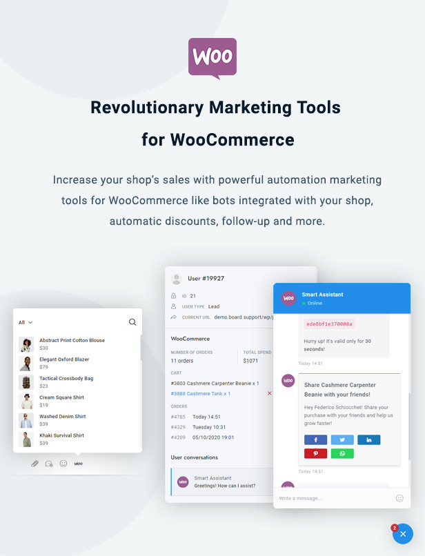 WooCommerce Chat Bot & Marketing App for Support Board - 2