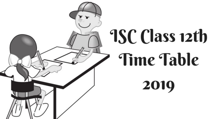 ISC Time Table 2019